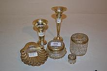 Three silver mounted dressing table jars, together with two small silver specimen vases and a silver shell form dish