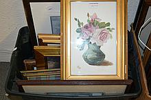 Box containing a quantity of various watercolours, pastels and prints etc