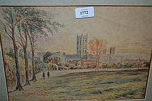 R. Haldane, set of three watercolours, buildings in landscapes, signed, gilt framed, 8ins x 13ins each