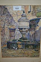 Two framed watercolours, courtyard with fountain, signed B.M. Seccombe Leech and study of sharing the spoil amongst ruins