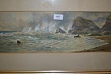 F. Walters, watercolour, coastal scene at Ilfracombe, signed, 7ins x 20.5ins, gilt framed together with a 19th Century watercolour, lake scene with watermill, figures etc, signed with monogram