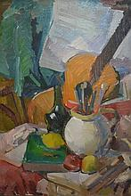 Oil on canvas, still life, vase, fruit, wine glass, guitar on a table top, unsigned, label verso, attributed to H. Russell Hall, unframed