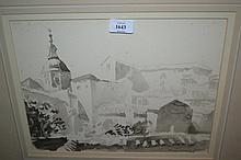 Indistinctly signed monochrome watercolour, view of a continental town, signed in pencil, gilt framed together with an oil on opaque glass, still life and four other pictures