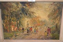 Pair of 20th Century oils on board, parkland scenes with figures, signed indistinctly, 9.5ins x 13ins, gilt framed