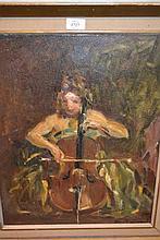 Alfred Hayward, oil on board, portrait of cellist Dimitrakopolis, signed, 19ins x 15ins, gilt framed