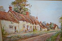 Clara Knight, watercolour, a rural street scene with thatched cottages, signed, 10.5ins x 14ins, gilt framed