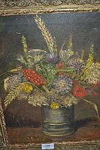 20th Century, oil on canvas, still life vase of flowers, signed indistinctly, gilt framed together with an oil on canvas, river landscape with cattle and sheep