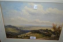 19th Century watercolour, landscape with sheep and a horse drawn cart on a track, bearing label verso, 10ins x 14ins, gilt framed