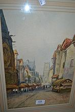 R.B. Wright, watercolour, Antwerp street scene, signed, 15ins x 10ins, gilt framed