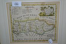 Antique hand coloured map of Sussex, similar map ' The Road from London to Bristol ', small framed map of Jersey and two others of Staffordshire and Guernsey