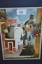 Rogelio Resendiz, watercolour, Spanish street scene, signed, 9.5ins x 7ins, framed