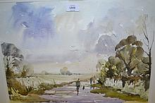 Steve Hall, watercolour, figures on a country lane, signed in pencil, 13ins x 18ins
