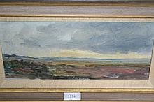 William Garfit, oil on board, yellow sky over marsh, 5ins x 12ins, framed