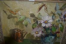 20th Century oil on canvas, still life, vase of flowers and a copper jug, signed Nevard and dated 1956, 15ins x 19ins, gilt framed