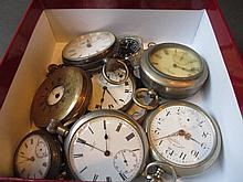 Gold plated half hunter pocket watch, five other various pocket watches, two fob watches and a wristwatch