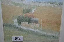 Raymond Ashley A.R.C.A, pastel drawing, farm on on the downs, signed, 6.5ins x 7.5ins