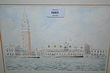 B.L. Adams, watercolour, Venice, 7ins x 9ins, signed and a print of the Rialto Bridge, Venice