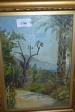 L.C. Oliver, 20th Century oil on panel, garden scene in the Canary Islands, signed, 11ins x 7.5ins, gilt framed