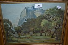 L.C. Oliver, oil painting on canvas, view of Edinburgh Castle from Greyfriars, signed and dated 1926, 10ins x 14ins, gilt framed together with another similar, view of Craigmillar Castle, signed and dated 1926, 10ins x 15ins, gilt framed