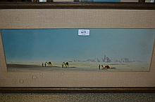 A.W. Wood, pair of signed pastel and watercolour, travellers in desert landscapes