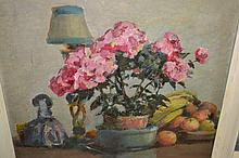 Walter Robinson Tollast, 20th Century oil on panel, still life, flowers, fruit etc. on a table, unsigned, 15.5ins x 17.5ins, framed