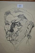 Pen and ink drawing, head study of a gentleman, signed Rakoczi, 17ins x 14ins