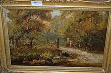 William Physick, signed oil, landscape with wooden gate by a stream, 9.5ins x 14.5ins