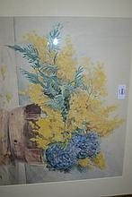 20th Century watercolour study, still life, flowers, signed A.J., 14.5ins x 17.5ins, gilt framed
