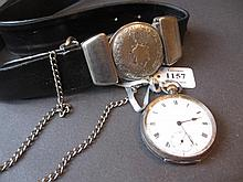 Silver cased open face pocket watch and a leather belt with pocket watch buckle