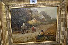 19th Century oil, figures with horseman and country road with figure resting to the foreground, 8ins x 10ins
