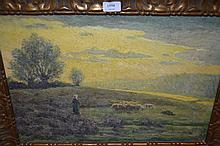 Late 19th Century Barbizon school, oil on canvas, shepherdess and flock in a landscape at sunset, 14.5ins x 21ins