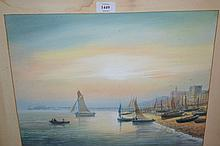 S. Harmsworth, watercolour, Brighton sea front with sailing boats and distant pier, signed, 13ins x 17ins, gilt framed