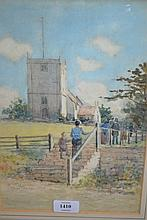 Alfred Townsend, 19th Century watercolour, figures before a church, signed and dated 1892, 12ins x 8ins, gilt framed