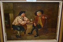 19th Century oil on panel, figure seated in an inn, signed indistinctly, 7ins x 9ins, gilt framed