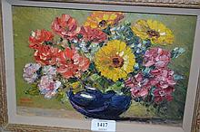Walter Taylor, oil on card, still life, vase of flowers, signed, 7ins x 10ins, gilt framed