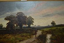 19th Century oil on canvas, landscape at sunset with figure carrying wood, signed Hooper, 12ins x 19.5ins