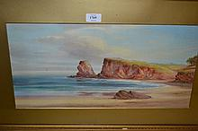 Late 19th / early 20th Century English school, pair of gouache paintings, West Country landscape and coastal scene, unsigned, 10ins x 20ins approximately, gilt framed
