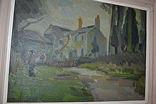S.M. Allinson, 20th Century oil on board, river scene with buildings and figure, signed, 15.5ins x 21ins, framed