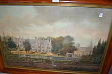 19th Century English school, watercolour, view of Greatford Hall, Stamford, with a figure on horseback and dog to the foreground, the river and hall to the distance, unsigned, 18.5ins x 28.5ins, in a burr wood frame with gilt slip together with a