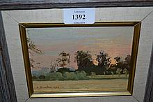 A. Easton, small oil on board, sunset landscape, signed and dated 1988