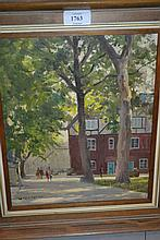 W. Eric Thorpe (Wapping Group), oil on board, view from Tower Green, 12ins x 10ins, framed