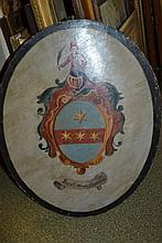 Antique oil on panel, an armorial crest
