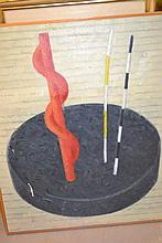 20th Century oil abstract composition together with four various framed prints