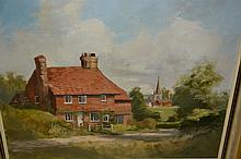 Douglas V. Baldwin, landscape, titled ' Millfield, Walton on the Hill ', another by the same artist of Dolly Farm Cottage