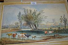 Pair of 19th Century watercolours, river scene with cattle and distant cathedral and river scene with figures unloading a barge, unframed together with a quantity of other various watercolours and drawings