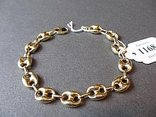 14ct Gold anchor link bracelet marked Italian .585