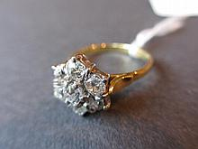 18ct Seven stone old cut diamond cluster ring