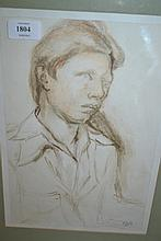 Ronald Becker, pastel drawing, head study of a boy, signed and dated '76, various labels verso, together with another similar