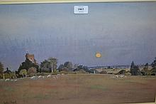 John Doyle, P.R.W.S., watercolour, ' Moonrise at Warehorne ', 13.25ins x 20.75ins, signed, gallery label verso, gilt framed