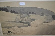 Charles Knight, watercolour, entitled ' Wharfedale ', monochrome rural landscape, signed and inscribed, 12.25ins x 18.5ins